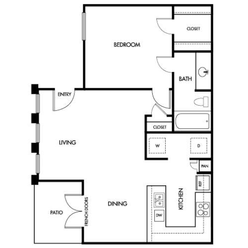 650 square foot one bedroom one bath apartment floorplan image