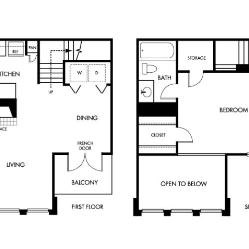 742 square foot one bedroom one bath two story apartment floorplan image
