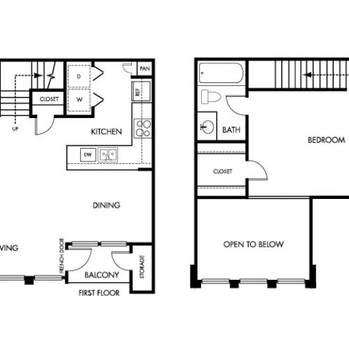 793 square foot one bedroom one bath two story apartment floorplan image