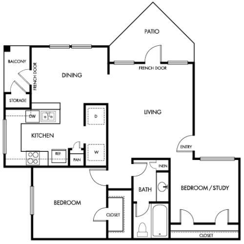 807 square foot one bedroom one bath study apartment floorplan image