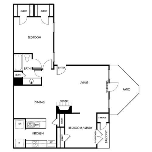 876 square foot one bedroom one bath study apartment floorplan image