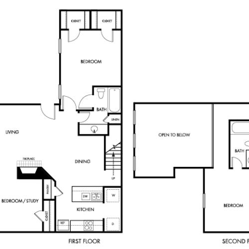 1200 square foot two bedroom two bath two story apartment floorplan image