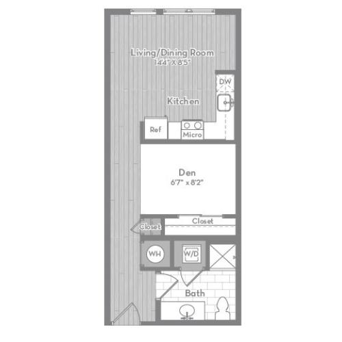 540 square foot studio one bath apartment floor plan image