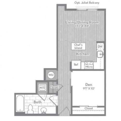 535 square foot Junior one bedroom one bath apartment floorplan image