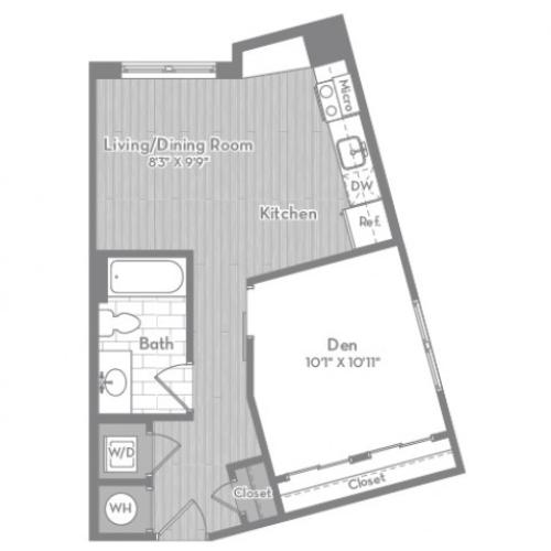 589 square foot Junior one bedroom one bath apartment floorplan image