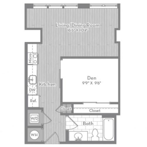 591 square foot Junior one bedroom one bath apartment floorplan image