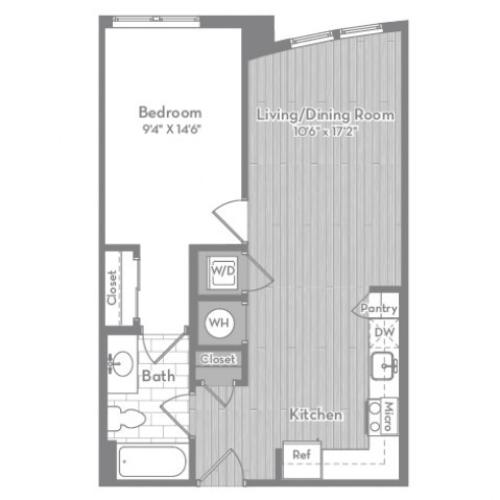 653 square foot one bedroom one bath apartment floorplan image