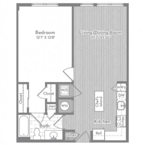 690 square foot one bedroom one bath apartment floorplan image