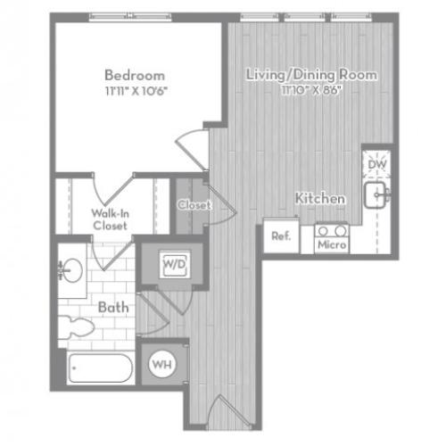 595 square foot one bedroom one bath apartment floorplan image