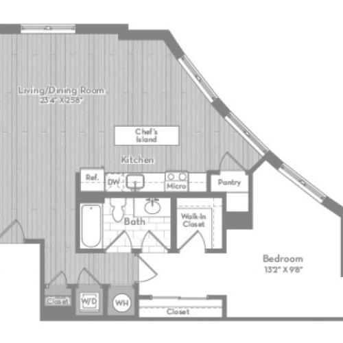 973 square foot one bedroom one bath apartment floorplan image