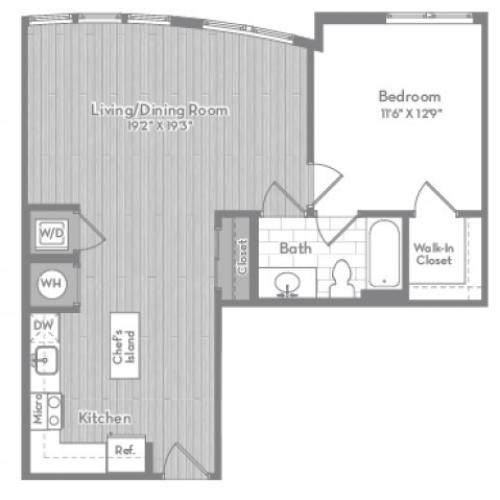 789 square foot one bedroom one bath apartment floorplan image