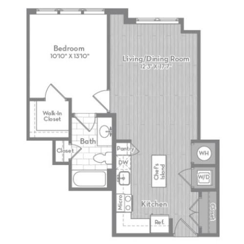 683 square foot one bedroom one bath apartment floorplan image