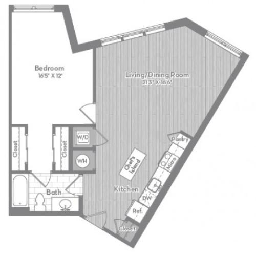 813 square foot one bedroom one bath apartment floorplan image