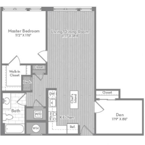 835 square foot one bedroom one bath with den apartment floorplan image