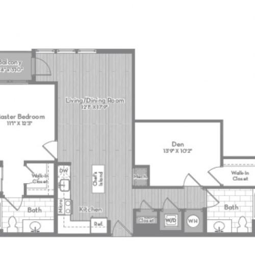 1020 square foot Junior two bedroom two bath with balcony apartment floorplan image