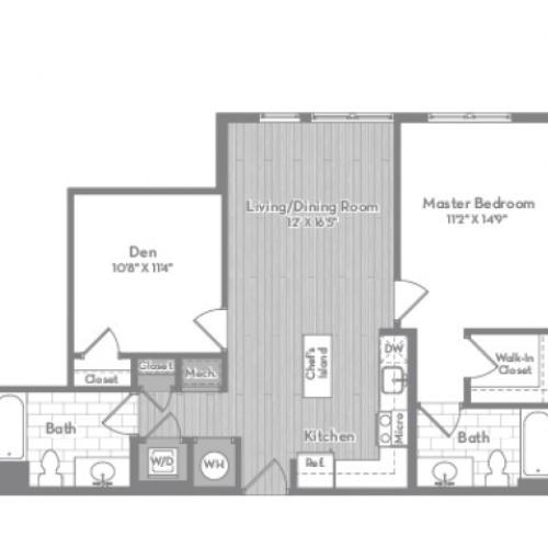 924 square foot Junior two bedroom two bath apartment floorplan image