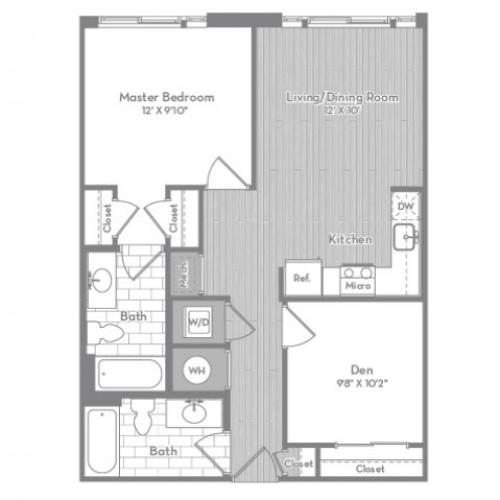 778 square foot Junior two bedroom two bath apartment floorplan image