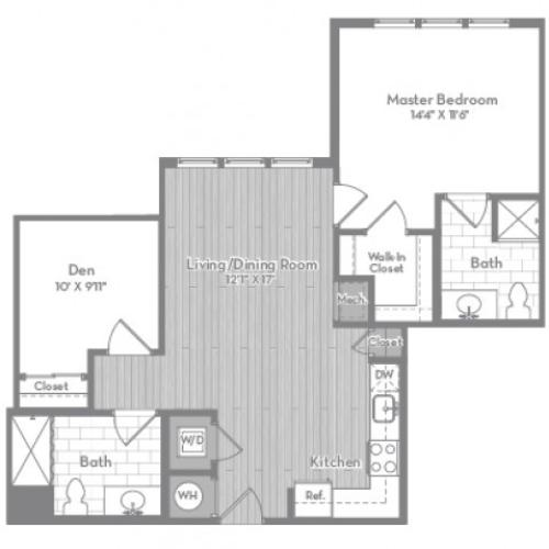 945 square foot Accessible Junior two bedroom two bath apartment floorplan image