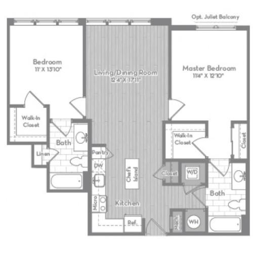 1012 square foot two bedroom two bath apartment floorplan image