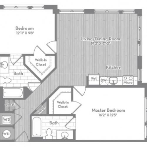 1052 square foot two bedroom two bath apartment floorplan image