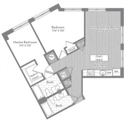 987 square foot two bedroom two bath apartment floorplan image