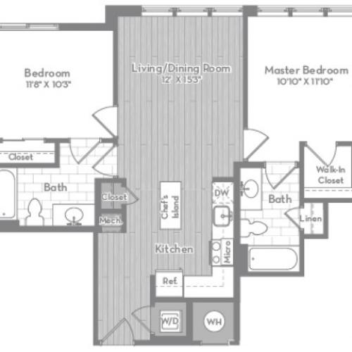 897 square foot two bedroom two bath apartment floorplan image