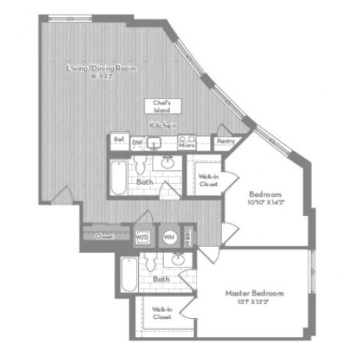 1230 square foot two bedroom two bath apartment floorplan image