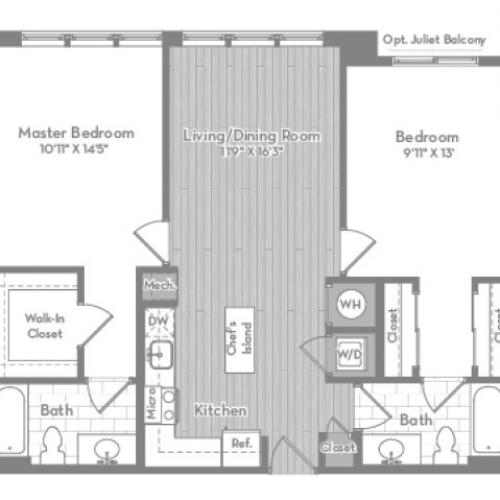 1056 square foot two bedroom two bath apartment floorplan image