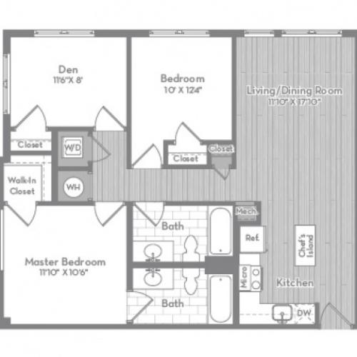 1034 square foot three bedroom two bath apartment floorplan image