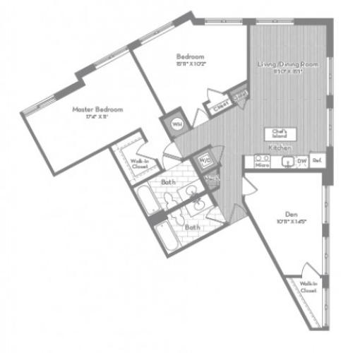 1336 square foot three bedroom two bath apartment floorplan image