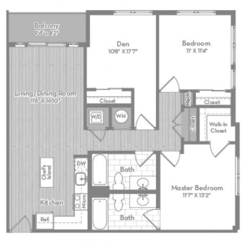 1141 square foot three bedroom two bath apartment floorplan image