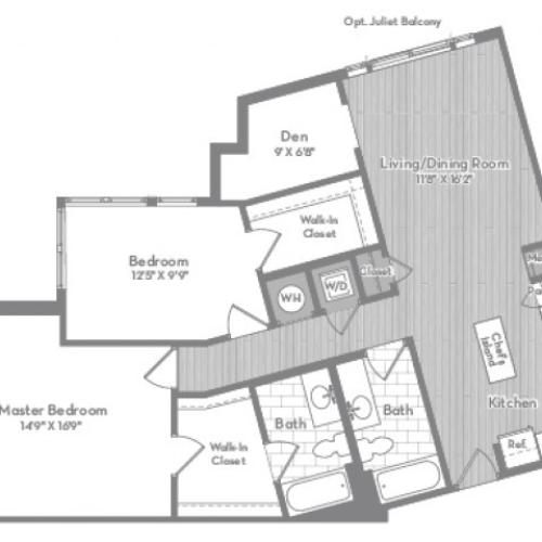 1239 square foot two bedroom two bath with den apartment floorplan image