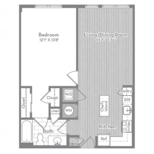 830 square foot one bedroom one bath apartment floorplan image