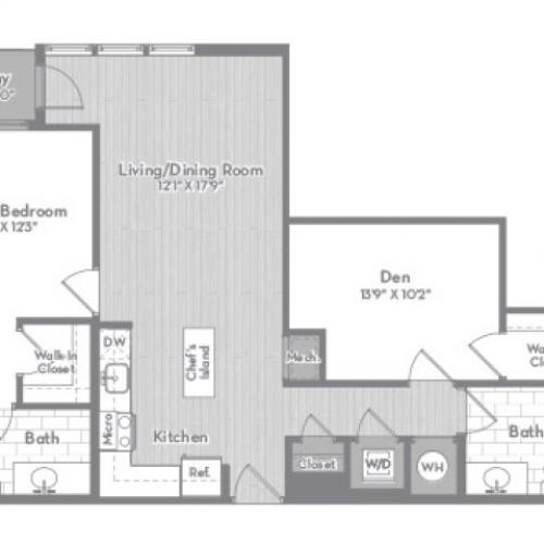 1018 square foot Junior two bedroom two bath with balcony apartment floorplan image