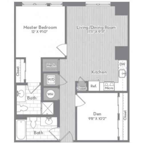 882 square foot Junior two bedroom two bath apartment floorplan image