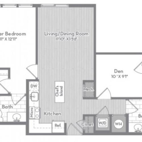 923 square foot Junior two bedroom two bath apartment floorplan image