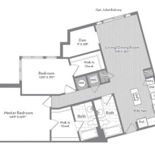 1236 square foot three bedroom two bath apartment floorplan image