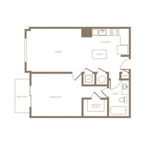 733 square foot one bedroom one bath phase II apartment floorplan image