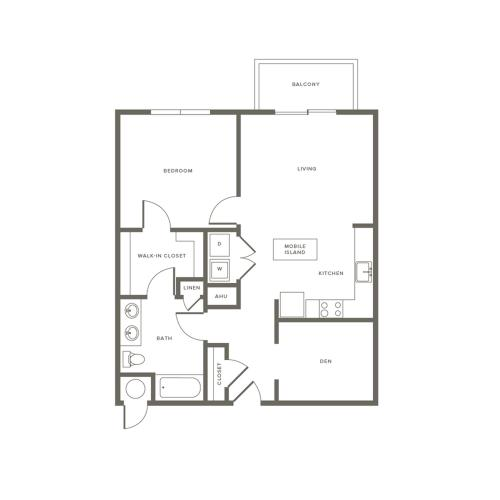 1 Bedroom Floor Plan A1D | Modera Needham | Apartments Near Needham MA