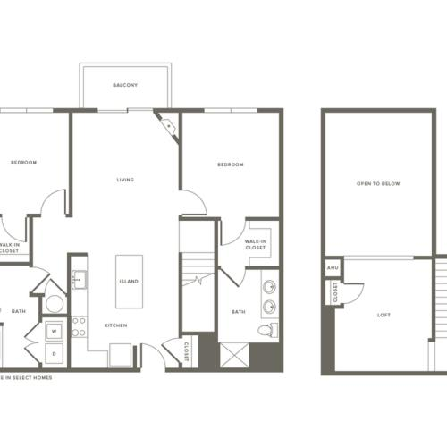 2 Bdrm Floor Plan w Loft | Modera Needham | Two Bedroom Apartments in Needham MA