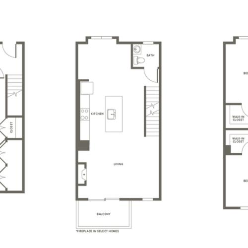 Town House Floor Plan | Modera Needham | Apartments for Rent in Needham