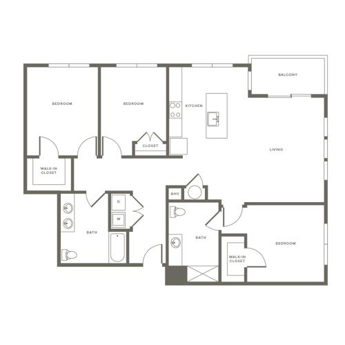 3 Bedroom Floor Plan C1 | Modera Needham | Needham Massachusetts Apartments