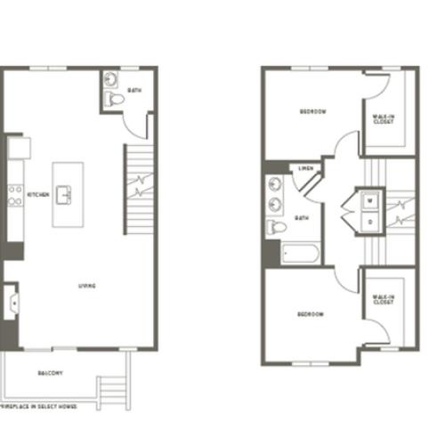 Town House Floor Plan TH3 | Modera Needham | One Bedroom Apartments in Needham MA
