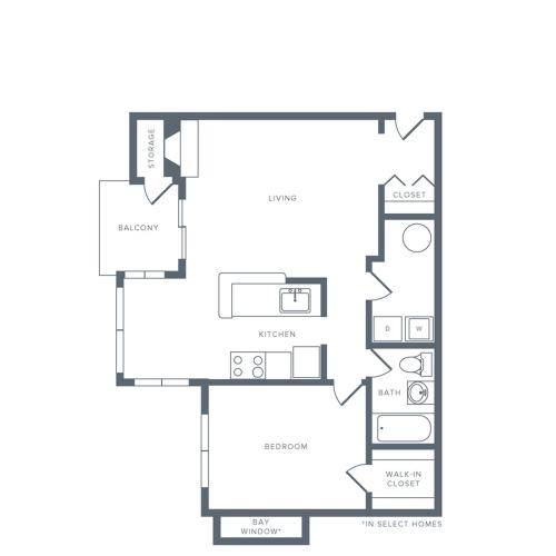 735 square foot renovated one bedroom one bath apartment floorplan image