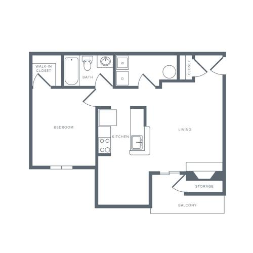 1 Bedroom Floor Plan | Columbia MD Apartments | Alister Town Center Columbia