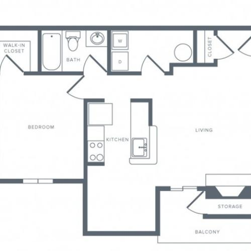 1 Bdrm Floor Plan | Apartments Columbia MD | Alister Town Center Columbia
