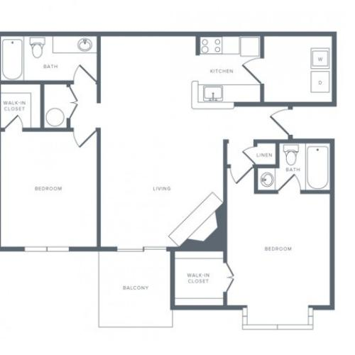 2 Bdrm Floor Plan | Studio Apartments in Columbia MD | Alister Town Center Columbia