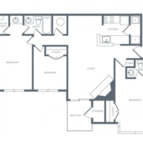 3 Bdrm Floor Plan | Columbia MD Apartments | Alister Town Center Columbia