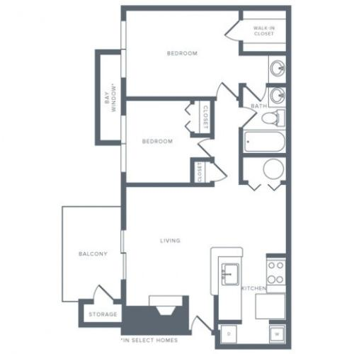 918 square foot two bedroom one bath apartment floorplan image