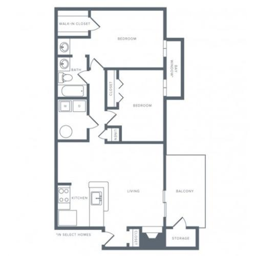934 square foot renovated two bedroom one bath apartment floorplan image